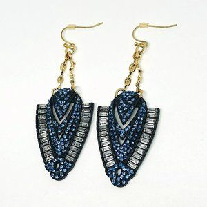 New! Blue Rhinestones Ancient Egyptians Earrings